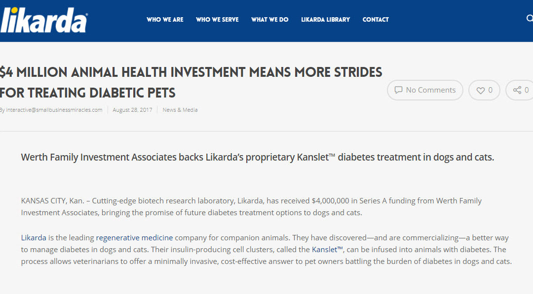 $4 MILLION ANIMAL HEALTH INVESTMENT MEANS MORE STRIDES FOR TREATING DIABETIC PETS